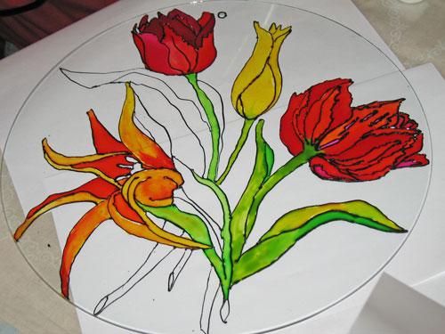 Kwiaty na szkle, Jolanta Dąbrowska.