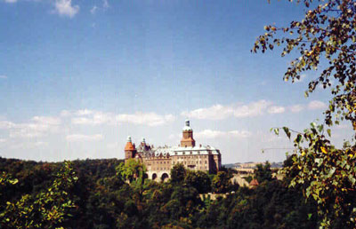 Zamek Książ z punktu widokowego. Fot. A. Gawryś.