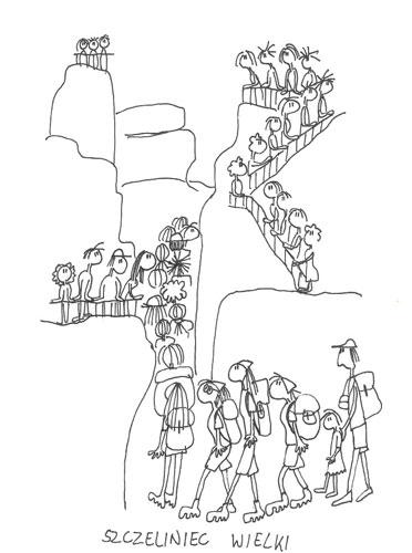 Szczeliniec Wielki jest popularny wśród turystów... Rys. A. Gawryś.